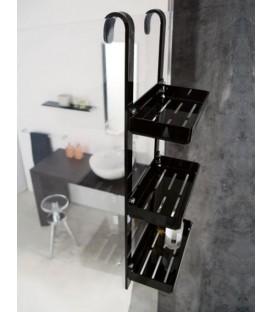 TL Bath porta oggetti piccolo da doccia 3 piani Plexigas Nero