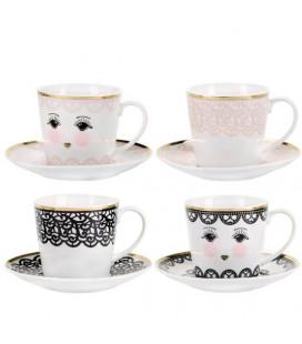 Lace Espresso set di 4 tazze con ricamo Miss Etoile